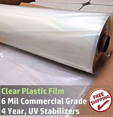 Greenhouse Plastic Clear 4 Year 6 Mil Poly Film, 12 ft Wide - Various Lengths