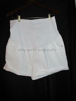 New Liz Lange Maternity Womens Size XXL White Over Belly Shorts