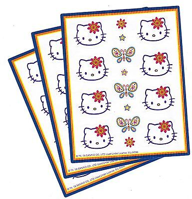 SANRIO Hello Kitty Stickers 3 Sheets! Butterfly and Faces! 2008