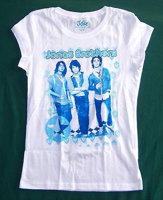 Jonas Brothers! Blue Pic Wht Girls Bbd T-Shirt Xl New