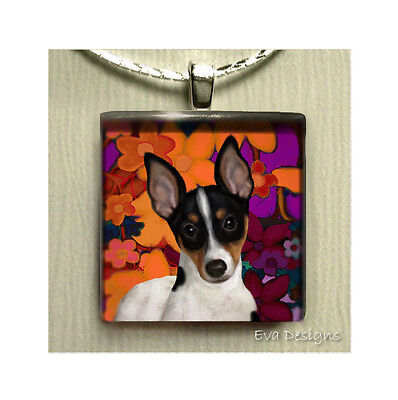 Rat Terrier Dog Art Gift Pet Charm Necklace Jewelry Glass Tile Pendant & Chain