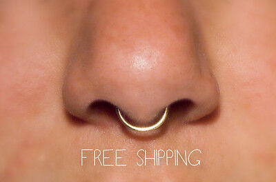 HANDMADE! Fake Septum Ring 14k Gold, 18 gauge Faux Nose Ring, Piercing