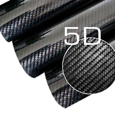 1.5M x 3M Black 5D Super Gloss Carbon Fibre Car Vinyl Wrap Decal Sticker