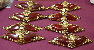 lot 8 BRASS PLATED STEEL BROWN ENAMELED ART DECO DRAWER PULL HANDLE rw