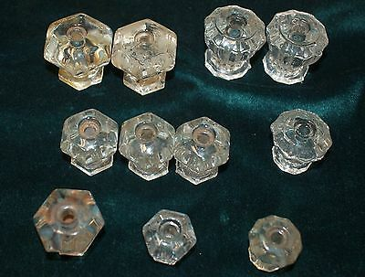 LOT 11 MIXED SIZES FACETS HEIGHT CLEAR ANTIQUE GLASS KNOBS PULLS rw