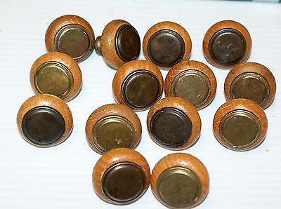 14 VINTAGE WOOD (oak) ROUND DRAWER CABINET KNOBS w/BRASS CAPS rw