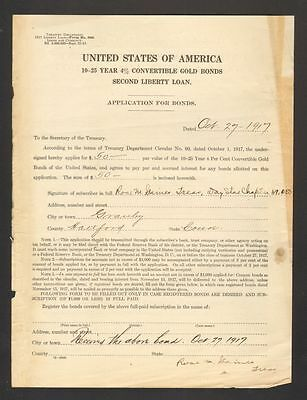 1917 Application for Bonds United States of America Gold Bonds Liberty Loan WWI