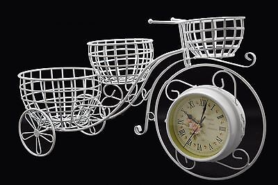 Retro Clock Table Basket Shabby Chic Metal Vintage Bicycle Look Wall Flowers New