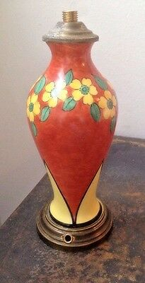 """Vintage French Art Deco 7"""" Table Lamp Ceramic Colorful Floral"""