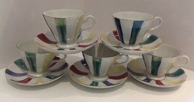 5x TEA CUP AND SAUCER SETS. Antique. Vintage. Eames. Atomic. Quality. Stunning.