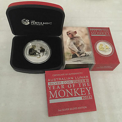 2016 $1 Year of the Monkey 1oz Colour Gilded Silver Proof Coin Perth Mint
