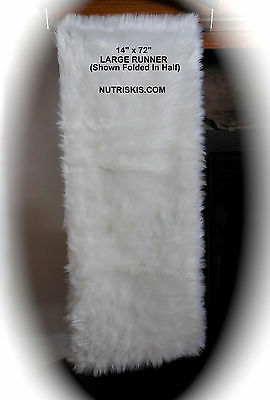 "Nicole Miller White Faux Fur Christmas Table Runner Mantle 14"" x 72"" Luxury New"