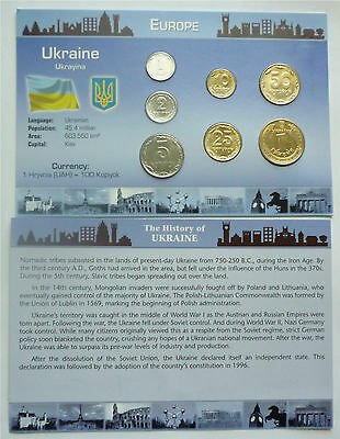 1993-2009 Ukraine - Mint Bu Type Coin Set (7) - Littleton Card & Coa - Beauty!