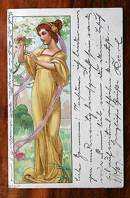 Posted 1907 Art Nouveau Postcard Young Girl Yellow Flowing Dress Tree Blossom