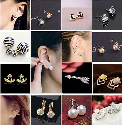 1 Pair Women Cute Gold Silver Plated Ear Stud Earrings Jewelry Gift New Fashion