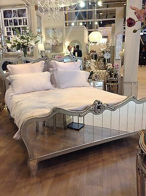 French Mirrored King Size Bed with Luxurious Silver Trim - Delivery end July