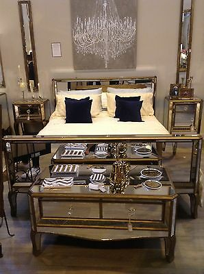 Gold Mirrored King Size Bed