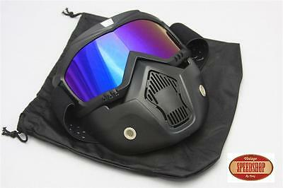 masque irridium casque jet moto vintage café racer custom lunette détachable