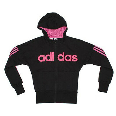 Size 9/10 Years - Adidas Originals 3 Stripes Full Zip Hood Top - Black/pink