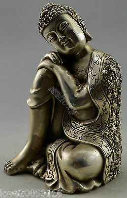 Collectible Old Handwork Silver Plate Copper Carved Buddha Sleeping Statue