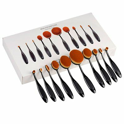 PRO Toothbrush Oval Make up Brushes Set Powder Foundation Contour Black