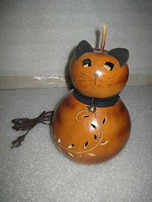 """HTF Large 12"""" Meadowbrooke Gourds Decorative Lighted Cat  Gourd Art Halloween"""