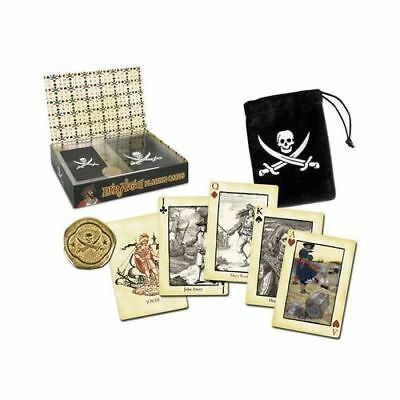 Pirate Portrait Skull Crossbones Playing Card In Pouch With Booty Boxed Gift Set