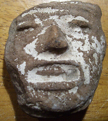 Precolumbian Pottery Head Face With Mineral Deposits 2 Inches Long