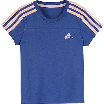 Size 5/6 Years - Adidas Originals Lg Ess Tee - Blue/pink Stripe