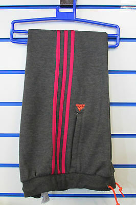 Size 7-8 Years - Adidas 3 Stripes Climalite Jog Sweat Cuffed Pants - Dark Grey
