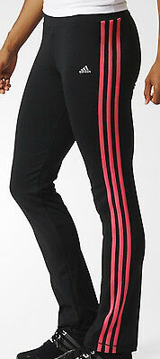 Size 9-10 Years - Adidas 3 Stripes Tight Pants - Black / Pink