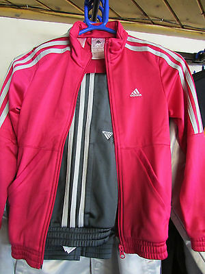 Size 9-10 Years Adidas Originals 3 Stripe Full Zip Classic Tracksuit Pink / Grey