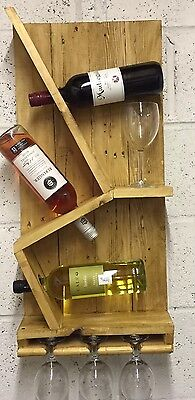 Wooden Rustic Shabby Chic Handmade wall mounted wine Rack & glass holder