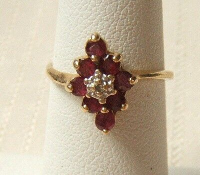 Vintage 14K Gold Ring With Rubies & Diamonds