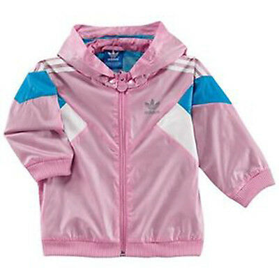Size Infants 3/4 Years - Adidas 3 Stripes Full Zip Lightweight Jacket - Pink
