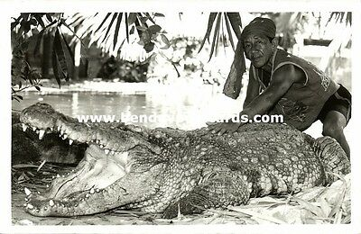 siam thailand, Native Man with a Large Crocodile (1950s) Real Photo