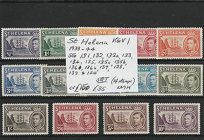 St Helena  KGV1 1938/44  SET SG131-140  [14 different stamps]   LMH  cv£150.