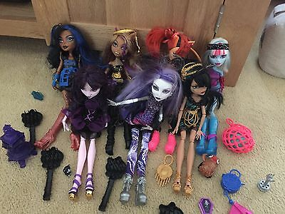 Bundle Of 7 X Monster High Dolls With Accessories