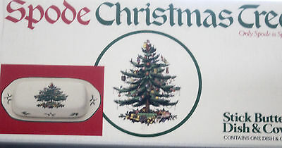 Spode Christmas Tree 2 pc. BUTTER DISH, Made in ENGLAND **BOXED**, 2 available