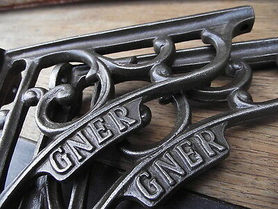 Vintage Industrial Style GNER Cast Iron Shelf Brackets rack book oak train sign.