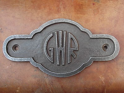 Vintage Style G.W.R Iron Plaque Sign Totem rail railway industrial train notice