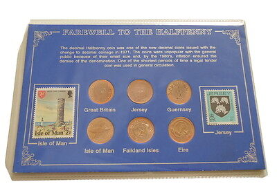 Farewell to the Halpenny Coin Set GB Isle of Man Jersey Guernsey Eire Falklands