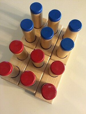 Montessori Sound Boxes Cylinders Red Blue Matching Shakers