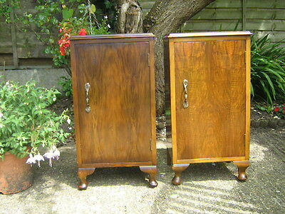 Two A Pair Of Matched Antique Vintage Walnut Bedside Cupboards Chest Tables