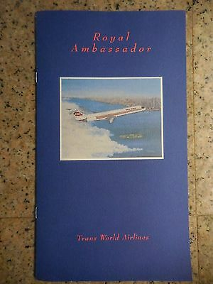 Trans World Airlines MD80 menu for Royal Ambassador pasengers from 1994