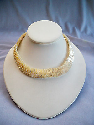 Vintage Mother of Pearl Flat Disc Bead Woven Collar Necklace