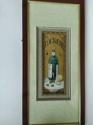 "Triple Matted padded Framed Tanqueray Print Cocktail Man Cave 9"" x 19""  Martini"