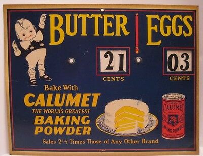 Unusual Old Pasteboard Calumet Baking Powder Sign Butter & Eggs Price Wheels
