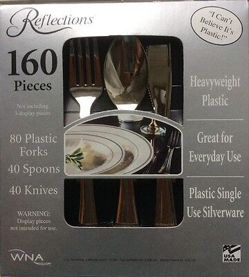 160 Count Reflections Plastic Silver Cutlery -