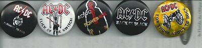 Ac/dc Button Lot Of 5 Vintage 1978-1983 Prism Foil Angus Young